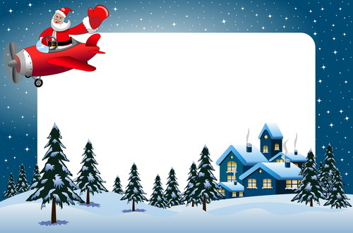 xmas frame and santa airplane vector free download