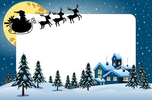 Xmas frame with sleigh silhouetter vector