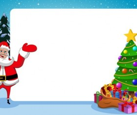 Xmas santa with paper frame and christmas tree vector
