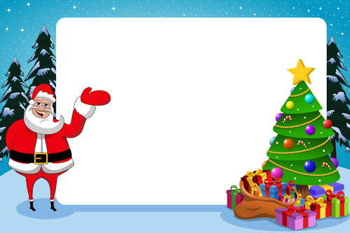 Xmas santa with paper frame and christmas tree vector free download