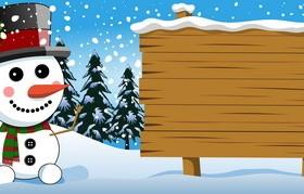 Xmas snowman with wooden board vectors