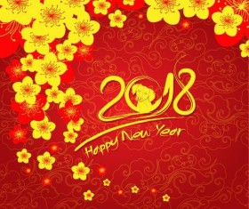 Yellow flower with 2018 new year background vector