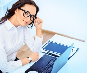Young and beautiful secretary lady Stock Photo