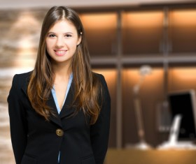 Young beautiful lobby receptionist Stock Photo