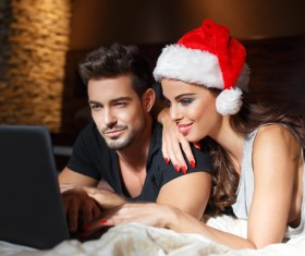 Young couple watching the video Stock Photo