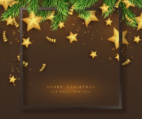 brown christmas card with golden stars and fir tree vector