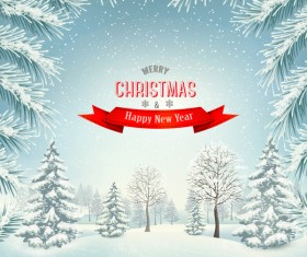 chistmas background with branches of tree and landscare vector