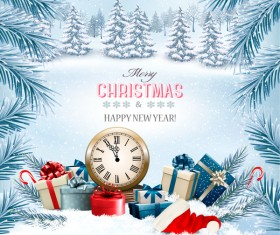 chistmas holiday background with winter trees and clock vector