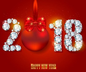 diamond with 2018 new year and red background vector