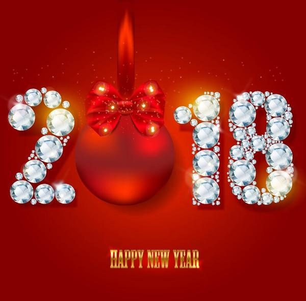 diamond with 2018 new year and red background vector free download