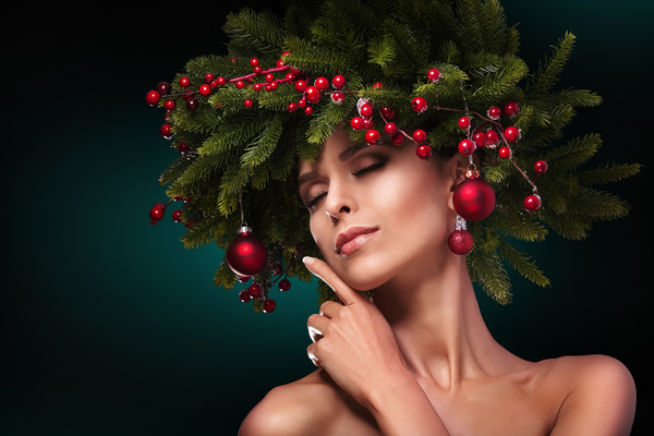 fashion model girl with fir branches decoration stock photo 01 free
