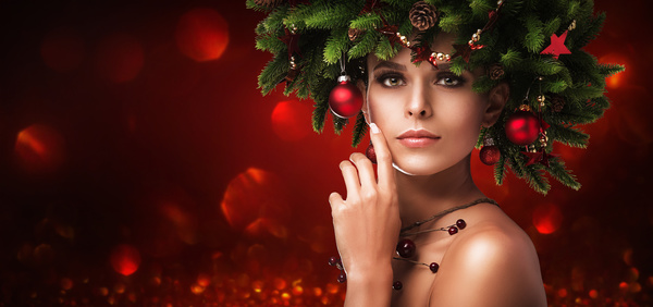 fashion model girl with fir branches decoration stock photo 03 free