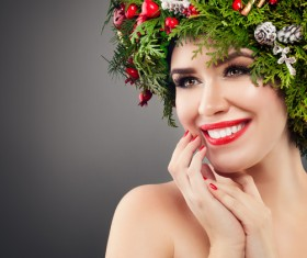 fashion model girl with fir branches decoration Stock Photo 10