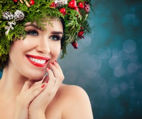 fashion model girl with fir branches decoration Stock Photo 11