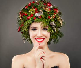 fashion model girl with fir branches decoration Stock Photo 12