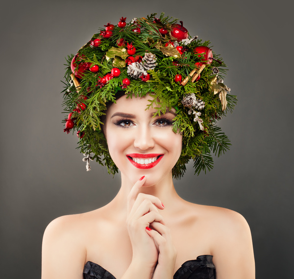 fashion model girl with fir branches decoration stock photo 12 free