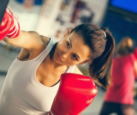 girl who practices boxing Stock Photo 01