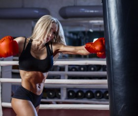 girl who practices boxing Stock Photo 03