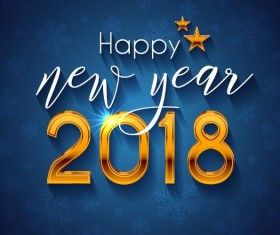 happy new year 2018 design vector