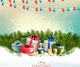 holiday background with colorful gift boxes and branches of tree vector
