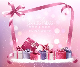 holiday christmas pink background with gift boxes vector
