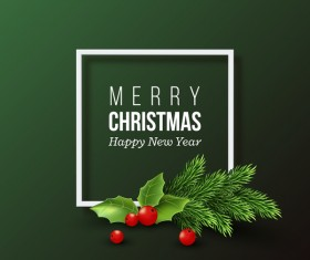 holly with green christmas card vector