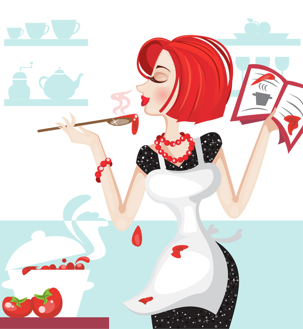 housewife with cooking vector