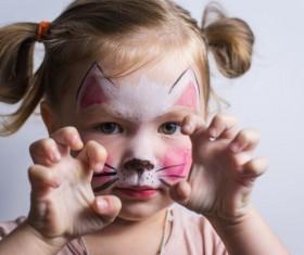 little girl dressed as kitten Stock Photo