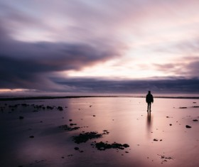 man in front of empty beach Stock Photo