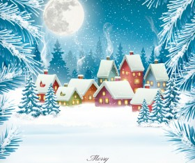 merry christmas background with winter village vector