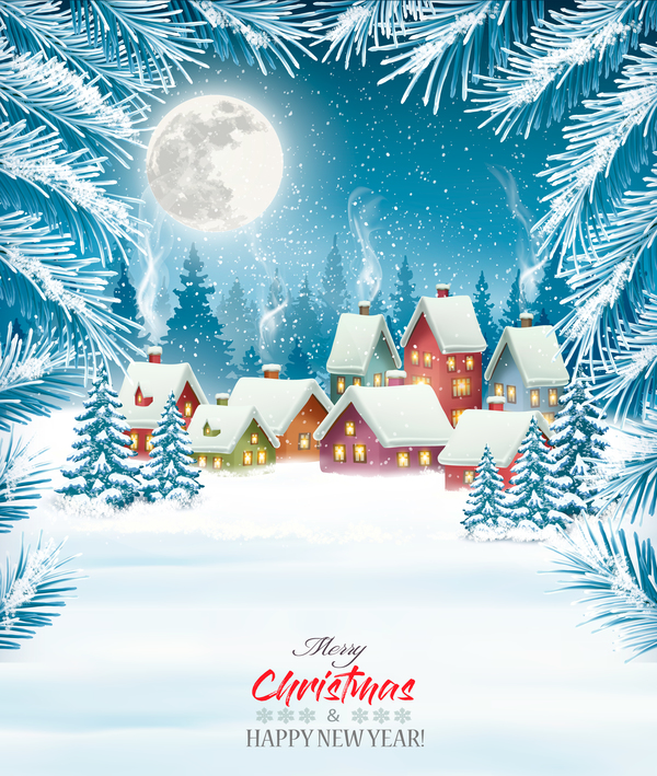 merry christmas background with winter village vector free download merry christmas background with winter