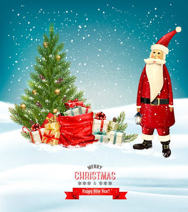 merry christmas banner with colorful presents and Santa vector