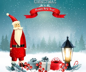 merry christmas greeting card with Santa claus and lantern vector