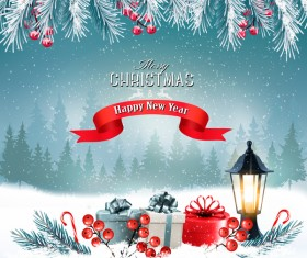 merry christmas greeting card with winter landscape and lantern vector