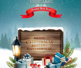 merry christmas greeting card with wooden sign and lantern vector