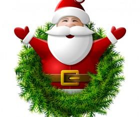 santa claus with pine wreath vector