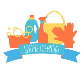 spring cleaning labels with banner vector