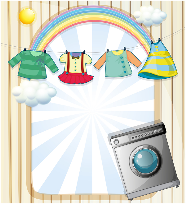 washing machine with baby clothes vector