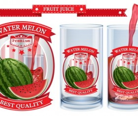 watermelon juice labels design vector 01