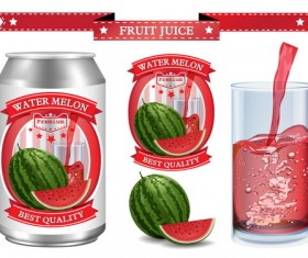 watermelon juice labels design vector 02