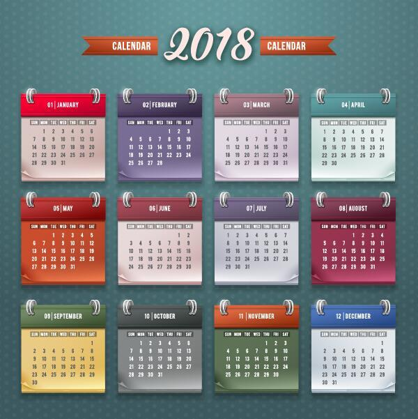 2018 calendar desk template vintage vector
