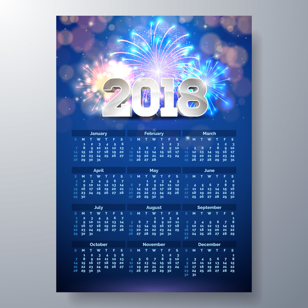 2018 calendar template and firwork vector