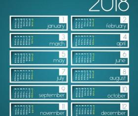 2018 calendar template blue vector material