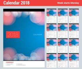 2018 company calendar template vector 01
