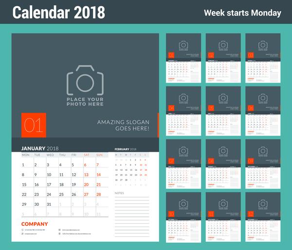 2018 company calendar template vector 02
