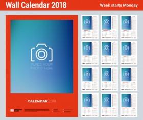 2018 wall calendar template vectors material 01