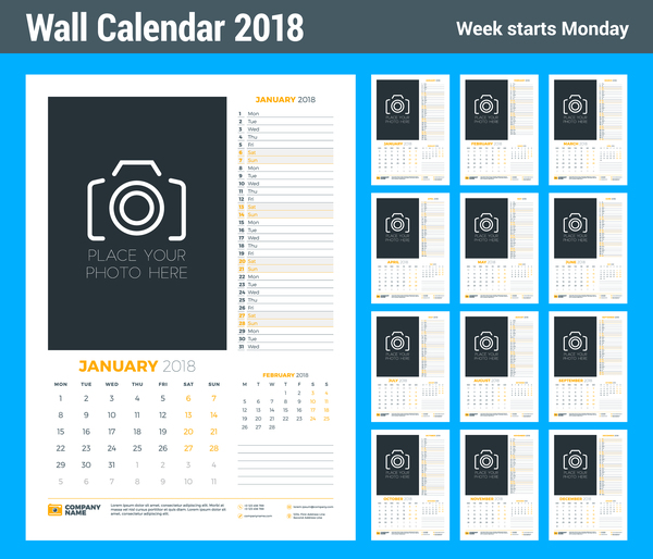 2018 wall calendar template vectors material 02