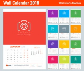 2018 wall calendar template vectors material 03