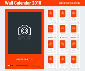 2018 wall calendar template vectors material 04