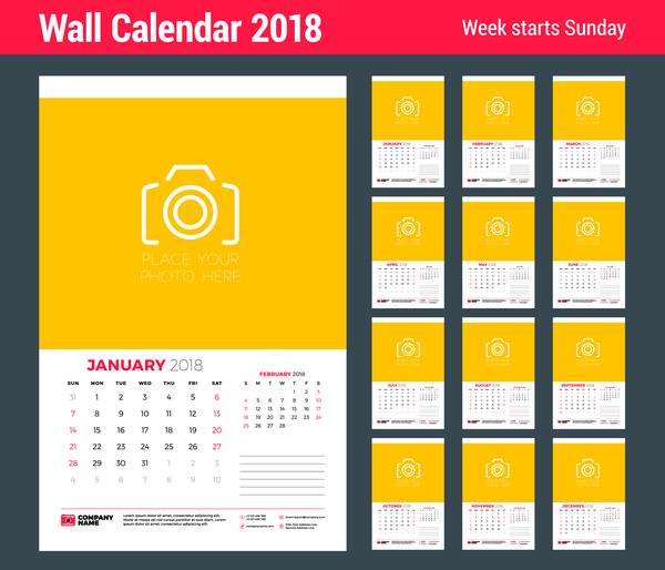 2018 wall calendar template vectors material 05